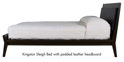 Kingston Sleigh Bed with padded leather head board