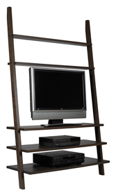leaning TV bookcase